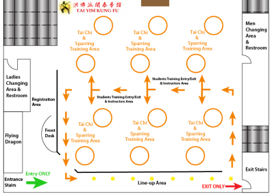 Kung Fu School COVID19 Floor Layout for Tai Chi and Sparring Classes