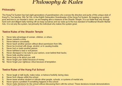 Tai Yim Kung Fu School Philosophy and Rules